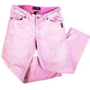 Silver Jeans Suki Capri Soft Pink Denim Mid-Rise